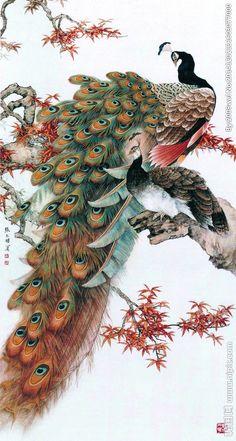 Chinese real natural silk thread,su hand embroidery kits:peacocks on tree 3 Peacock Wall Art, Peacock Painting, Peacock Decor, Chinese Painting, Chinese Art, Peacock Images, Hand Embroidery Kits, Arte Sketchbook, Art Japonais
