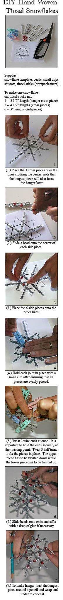 Make your own tinsel snowflake Christmas decoration