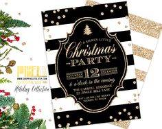 Black and White Stripes Christmas Party Invitation, Gold Glitter Confetti, Holiday Party, White Elephant Gift Exchange, New Years party by shopPIXELSTIX on Etsy