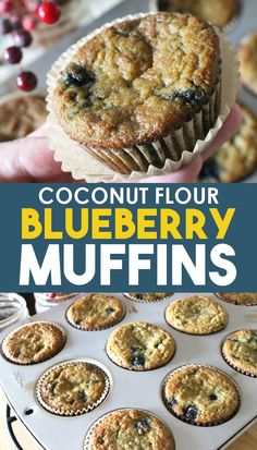 An easy blueberry muffin recipe made with coconut flour, vanilla, and no sugar, made with paleo and GAPs approved sweeteners like honey or maple syrup, this is a delicious breakfast item for any diet! Recipes Using Coconut Flour, Coconut Recipes, Diet Recipes, Health Muffin Recipes, Coconut Flour Baking, Coconut Flour Desserts, Bread Recipes, Coconut Flour Banana Bread, Almond Flour