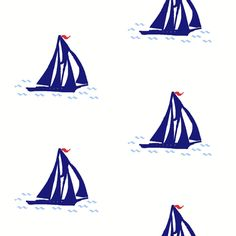 Navy Blue Schooner fabric by Captive in Florida
