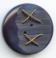 Vintage Blue Casein Button Carved and Wired by baublesbuttons, $5.00