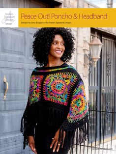 ANNIE'S SIGNATURE DESIGN: Peace Out! Poncho & Headband crochet pattern download designed by Lena Skvagerson for Annie's. Order here: https://www.anniescatalog.com/detail.html?prod_id=134569&cat_id=918