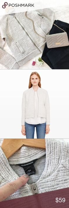 Club Monaco Soft Zip Jacket Size S Club Monaco, Ralph Lauren's European line, Soft Zip Jacket in a textured 100% cotton shell. An office staple that feels just as cool with denim on the weekend. Just so versatile. Cream and light gray.   Details: * Size S * Shell 100% Cotton  * Filling 100% Cotton  * Lining 67% cotton 28% polyester 5% elastane * Front pockets * Hand wash, hang dry * EUC * Smoke free pet free  Measurements taken flat ▫️Bust: ▫️Length  R.9.17 Club Monaco Jackets & Coats…