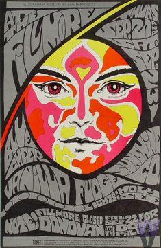 Donovan, Vanilla Fudge, Blue Cheer Poster, Fillmore Auditorium (San Francisco, CA) Sep 21, 1967. Art by Bonnie MacLean.