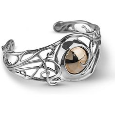 Carolyn Pollack 925 Sterling Silver With Brass Cabochon Scroll Cuff Swirling splendor showcases on this Carolyn Pollack cuff bracelet. Crafted of 925 sterling silver that circle around a glowing cabochon of polished brass in this cuff provide a stylish and versatile look. Measuring 1⅛ inches at widest point its considered small traditional fit. Wear with your little black dress for a polished look or with jeans for a casual look that is fun and fresh! Or express your appreciation of…
