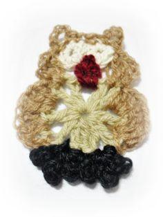 Aplique de búho en crochet (paso a paso)