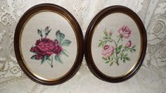 VINTAGE TAPESTRY EMBROIDERY ROSES FLORAL WALL PLAQUES SET WOOD FRAMES