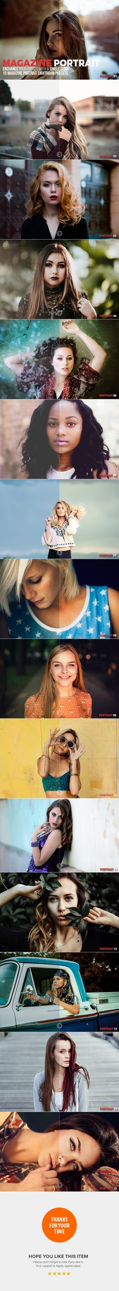 15 Magazine Portrait Lightroom Presets - Portrait #Lightroom Presets Download here: https://graphicriver.net/item/15-magazine-portrait-lightroom-presets/20012370?ref=alena994