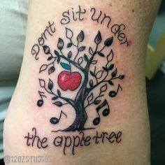 Awesome Andrew Sisters don't sit under the apple tree tattoo by Tami Rose.