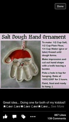 Salt dough hand ornament @Lauren Davison Davison Davison Davison Mares-Johnson