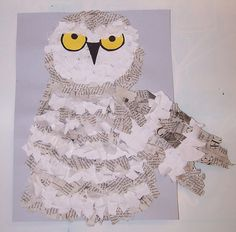 snowy owls made with white paper and newspaper