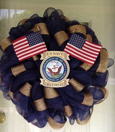 Patriotic USA US Navy Deco Mesh Handmade Military Door Wreath Wall Veterans Day #DecoMesh