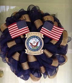 Patriotic USA US Navy Deco Mesh Handmade Military Door Wreath Wall Veterans Day #DecoMesh