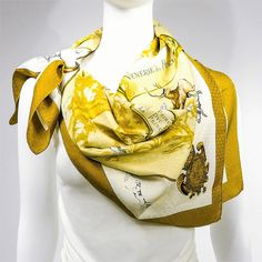 Venerie des Princes, Charles Halo (1957)  - extremely rare - jacquard - gold - available for sale athttps://carredeparis.com/collections/home/products/authentic-hermes-silk-jacquard-scarf-venerie-des-princes-rare-w-box