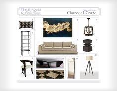 Chicago interior design, interior designer, upholstery fabric, BB Italia sofa, Circa Lighting lantern, tripod floor lamp, metal bookcase, mi...