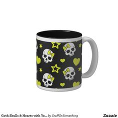 Goth Skulls & Hearts with Yellow Accents Two-Tone Coffee Mug