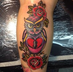 Super girly owl on the back of my calf. Artist: Vicky Coleman of Yer Cheatin' Heart Tattoo in Gardena, Ca. #tattoo #ouch lol