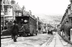 waste-rubbish-trash-garbage-refuse-tpt-transport-truck-lorry-wagon-environment-bath-cleansing-clean-wash-dept-department-bedford,-Vintage-Black-and-White-Photography,-Classic-Twentieth-Century-British-Photographs,-BW-photos,-Stilltime-Collection