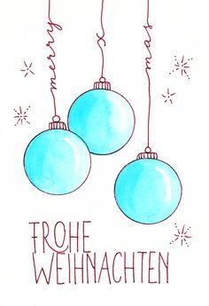 Feliz Navidad tarjeta de letras a mano - Katja Haas Watercolor Christmas Cards, Christmas Drawing, Christmas Diy, Merry Christmas, Xmas, Winter Drawings, Diy Crafts To Do, Happy Paintings, Vinyl Lettering