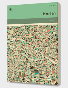 """""""Berlin Map"""", Numbered Edition Canvas Print by Jazzberry Blue - From $69.00 - Curioos"""