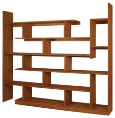 Designed to maximize the amount of display area, this Bamboo shelving unit creates a variety of different sized surfaces. The asymmetrical layout of the shelving opens up the possibilities for a less traditional display of objects. You can now fit your hand-blown vase in amongst the books and family photos, next to your records, that oversized world atlas and over-achieving orchid.