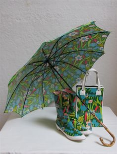 """1960's """"Kickerino"""" Mod Green, Blue and Hot Pink Floral Rain Boots, Tote Bag, and Umbrella Set - Boot Size: 6M by MTvintageclothing on Etsy"""