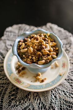 5 Healthy Snack Recipes by Three Kitcheneers // photos by Naomi Chokr // for The Everygirl // sweet and spicy rosemary nut mix