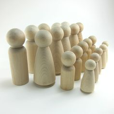Wooden peg dolls are perfect for creating your own Waldorf-inspired nature tables, Montessori games, play sets and cake toppers. These unfinished wood figurines are easy to paint or ready to play with