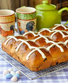 Hot Cross Buns - practice them now for Easter but really they are not just for Easter Sunday, these delicious, fragrant, yeast raised sweet rolls have become a brunch staple year round at our house. Cross Buns Recipe, Bun Recipe, Baking Recipes, Dessert Recipes, Desserts, Bread Recipes, Appetizer Recipes, Yummy Recipes, Newfoundland Recipes