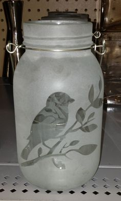 Frosted bird mason jar. Walmart. $2.97!! This is what I'm going to use!