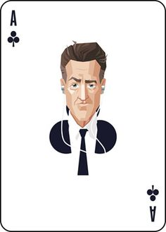 Twin Peaks inspired playing card design. Illustration of Gordon Cole as the Ace of Clubs.