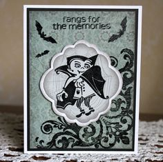 Halloween   425 x 55 Hand Stamped card by StampnMyArtOut on Etsy, $2.99
