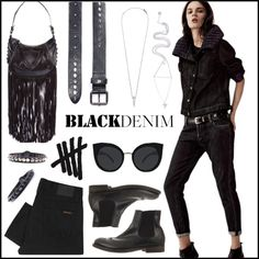 Black on Black by htc-los-angeles on Polyvore featuring moda, Nudie Jeans Co., Eva Fehren and Quay