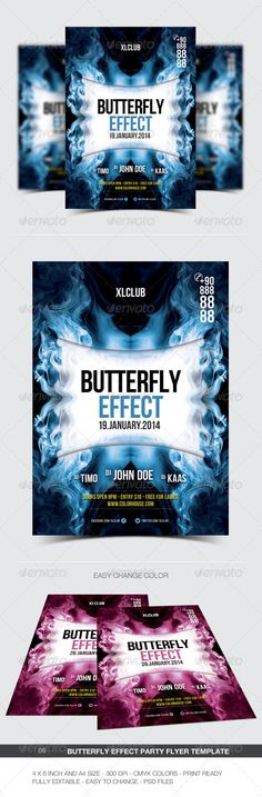 Butterfly Effect Party Flyer/Poster - 06 #a4 #club #concert #dance #disco #dj #electro #electronic #event #flyer #minimal #modern #music #night #nightclub #party #poster #print #color #house #music #butterfly #effect #blue #pink