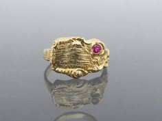 Antique Art Deco Solid Yellow Gold Genuine Ruby Nugget Ring Size by on Etsy 14k Gold Ring, Gold Rings, Gemstone Rings, Art Nouveau, Art Deco, Costume Rings, Solid Gold, Class Ring, Heart Ring