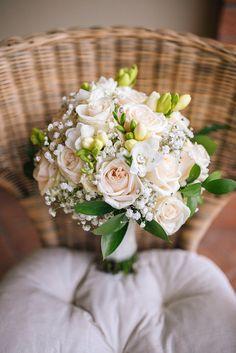 white roses & freesia Romantic Bouquet by Simmi Floral Design Blush Bouquet, Silk Flower Bouquets, Bridesmaid Flowers, Bride Bouquets, Flower Bouquet Wedding, Freesia Flowers, Flower Girl Basket, Flower Decorations, Marie