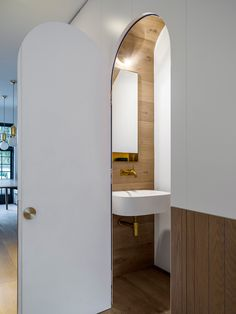Preparing for a commission to design the new Airbus toilets, Luigi Rosselli Architects have experimented with compact design for such situations with the understairs powder room. © Justin Alexander