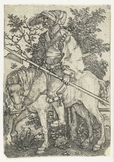 """Hellebaardier te paard"", 1512, Barthel Beham, Barthel Beham (ca. 1502-1540)"