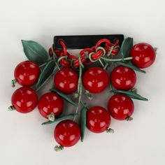 BAKELITE Red Carved Cherries Leaves Art Deco Chain Brooch
