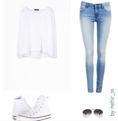 For the weekend! #ootd by nehir_ss from Pureple community. #weekend #wiwt #lotd #hightop #converse #white #sneakers #denim #fashionista #light #wash #skinny #jeans #inspiration #purepleapp #pureple #casual #cool #teen #aviator #kombin #fashion #style #school #outfit #look
