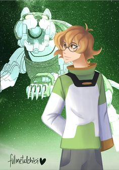 Pidge and her Green Lion in the sparkling green stars from Voltron Legendary Defender