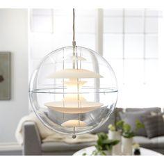 Verner Panton Globe Shuttle - 7871,25 DKK | OFFERS | ILVA.dk Scandinavian Interior, Lamp Design, Globes, Hanging Chair, Lamp Light, Pantone, Living Room Designs, Mid-century Modern, Ceiling Lights
