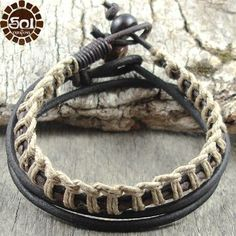 Mens Leather Bracelet Hemp Cord Brown Surfer Cuff Earthy Eco Surf Bead Sol | eBay