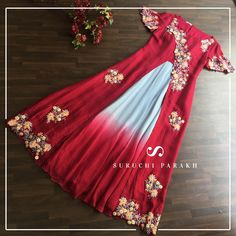 """""""When you are meant to stand out, why fit in?""""- Who doesn't want to look trendy this season? This jacket dress with intricate details of thread and pearl gives a classy look. WE SHIP WORLDWIDE Designer Party Wear Dresses, Kurti Designs Party Wear, Indian Designer Outfits, Indian Gowns Dresses, Pakistani Dresses, Indian Attire, Indian Outfits, Long Gown Dress, Long Gowns"""