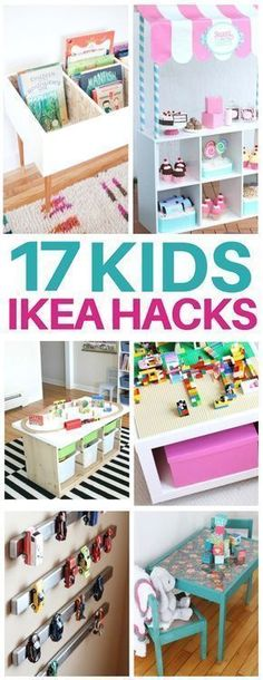 This list of kids ikea hacks is EXACTLY what I needed to redo my kids bedroom! Adorable diy furniture ideas like craft tables, kids toy organization, bookshelves, lego tables, and even play kitchens for so cheap! I am totally making the activity table that's under $40! #ikeahacks #kidsroom