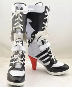 9f768d3c8c0a Movie Batman Suicide Squad Harley Quinn Halloween Cosplay Shoes Boots For  Costumes High Heels Custom Made