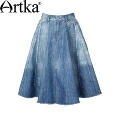 Artka Women's 2015 Summer New Vintage Solid Color Shirred Elegant Skirt Comfortable Cotton All-Match Skirt Denim Skirt, Jean Shorts, Aliexpress, Women's Fashion, Vintage, Jeans, Summer, Cotton, How To Wear