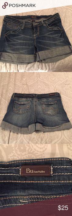 Medium wash denim/jean shorts from Bu! Size 9. Never worn denim/jean boyfriend shorts from Bu From Malibu! Cuff is permanent. Size 9. $25 OBO! Bu From Malibu Shorts Jean Shorts