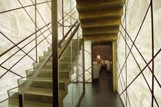 The spectacular alabaster staircase in the Quattro Passi restaurant in London, leading from the restaurant area to the bar